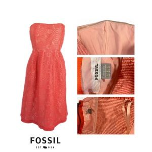 Fossil Strapless Coral Lace Mini Sz Large